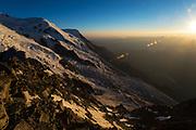 Mont Blanc du Tacul from the Cosmiques Hut. Aiguille du Midi, Chamonix, France.