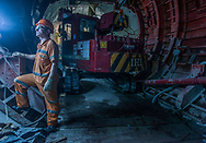 China / Hong Kong<br /> <br /> MTR West Island Line SHW to SYP Tunnels construction site / Ko Shing Street underground operation with TDM machinery <br /> <br /> © Daniele Mattioli China Corporate Photographer for Bouygues