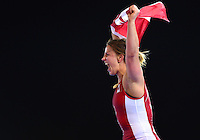July 29, 2014: Erica Wiebe of Canada celebrates after winning gold in the Women's 75kg Nordic Wrestling competition at the Scottish Exhibition Conference Centre during the XX Commonwealth Games in Glasgow, Scotland.