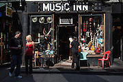 The Music Inn, a store for vintage and unusual musical instruments, on West 4th Street on New York's Greenwich Village.