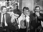 Release of Fishermen from Mountjoy.1982.22.10.1982.10.22.1982.22nd October 1982.As a result of E.U Fisheries policy, in regard to a total ban on herring fishing in the Irish Sea,blockades of eastern fishing ports were started. Several fishermen were imprisioned as a result.. Martina and Joe O'Shea, happy and relieved after his release from prison...pictures  of ireland.pictures.Photos of Ireland.Photos .old pictures.old photos  of ireland.old photos.old photographs  of ireland.old photographs. images of Ireland.images.historic images  of ireland.historic images.Black and White images of Ireland.