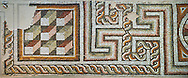 Geometric Roman mosaics, Eastern Mediterranean, 4th century AD. The Louvre Museum, Paris .<br /> <br /> If you prefer to buy from our ALAMY PHOTO LIBRARY  Collection visit : https://www.alamy.com/portfolio/paul-williams-funkystock/roman-mosaic.html - Type -   Louvre    - into the LOWER SEARCH WITHIN GALLERY box. Refine search by adding background colour, place, museum etc<br /> <br /> Visit our ROMAN MOSAIC PHOTO COLLECTIONS for more photos to download  as wall art prints https://funkystock.photoshelter.com/gallery-collection/Roman-Mosaics-Art-Pictures-Images/C0000LcfNel7FpLI