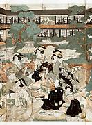 Men and women socialising and playing musical instruments in courtyard garden, of a brothel in Yoshiwara, red light district of Edo (Tokyo),c1810 . Eizan Kikukawa (1787-1867) Japanese Ukiyo-e artist.  Entertainment Prostitution