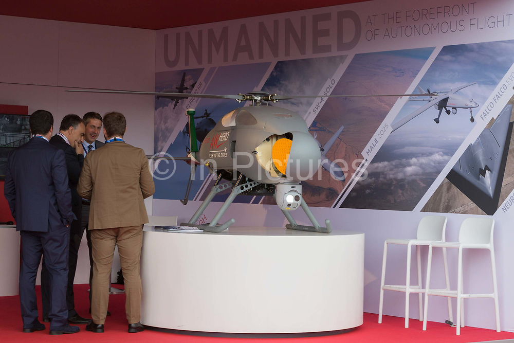 A Leonardo AWHero unmanned copter exibited at the Farnborough Airshow, on 18th July 2018, in Farnborough, England. The helicopter operates as NAWSARH Norwegian All-Weather Search and Rescue Helicopter.