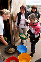 Visually-impaired people preparing feed for horses after riding lesson.
