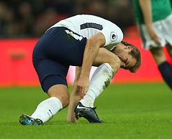 25 November 2017 Wembley : Premier League Football : Tottenham Hotspur v West Bromwich Albion - Harry Kane replaces his Nike boot which has the name, Ivy, and date of birth of his daughter.<br /> (photo by Mark Leech)