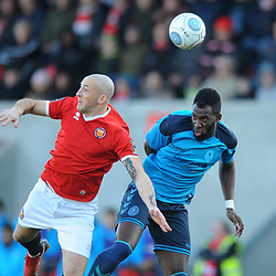 TELFORD COPYRIGHT MIKE SHERIDAN 17/11/2018 - Amari Morgan-Smith of AFC Telford battles for a header during the Vanarama Conference North fixture between FC United of Manchester and AFC Telford United.
