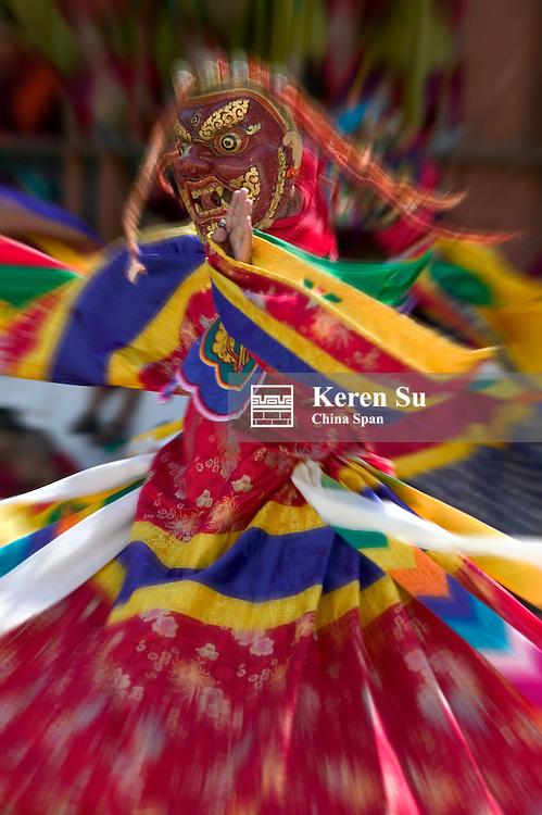 Mask dance celebrating Tshechu Festival at.Wangdue Phodrang Dzong, Wangdi, Bhutan