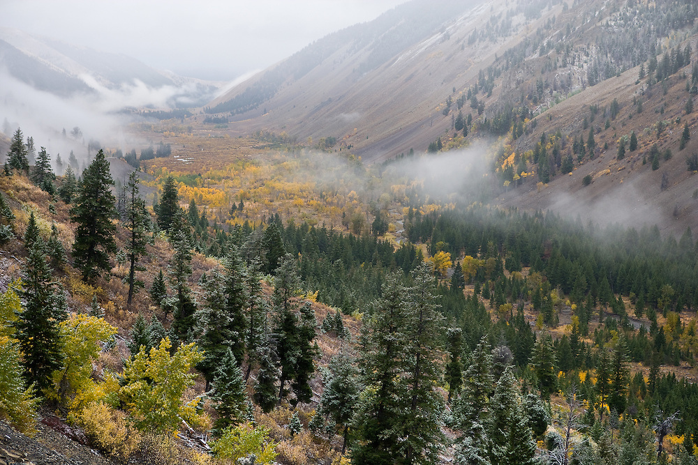 Moody autumn storm moves down Trail Creek Canyon with lifting clouds and early snow on higher peaks near Sun Valley, Idaho. Licensing and Open Edition Prints.