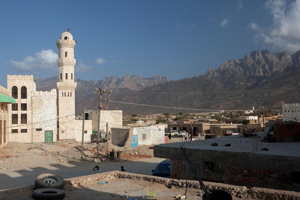 Hadibu, Socotra with a view of the Hagier Mountains. Hadibu, Socotra, Yemen