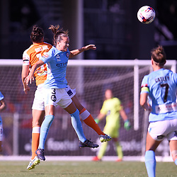 BRISBANE, AUSTRALIA - FEBRUARY 11: Emily Gielnik of the Roar and Lauren Barnes of Melbourne compete for the ball during the Westfield W-League Semi Final match between the Brisbane Roar and Melbourne City at Perry Park on February 11, 2018 in Brisbane, Australia. (Photo by Patrick Kearney / Brisbane Roar)