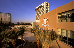 Stock photo of the view of the Toyota Center and International Hilton in Houston, Texas