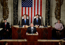 U.S. President Donald J. Trump delivers his first address to a Joint Session of Congress on Tuesday, February 28, 2017 at the Capitol in Washington, DC. Photo by Olivier Douliery/ Abaca