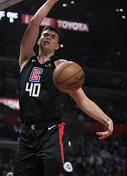 March 8, 2019 - Los Angeles, California, United States of America - Ivica Zubac #40 of the Los Angeles Clippers makes a dunk during their NBA game with the Oklahoma Thunder on Friday March 8, 2019 at the Staples Center in Los Angeles, California. Clippers defeat Thunder, 118-110.  JAVIER ROJAS/PI (Credit Image: © Prensa Internacional via ZUMA Wire)