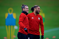 CARDIFF, WALES - Monday, November 19, 2018: Wales' Gareth Bale (L) and captain Ashley Williams during a training session at the Vale Resort ahead of the International Friendly match between Albania and Wales. (Pic by David Rawcliffe/Propaganda)