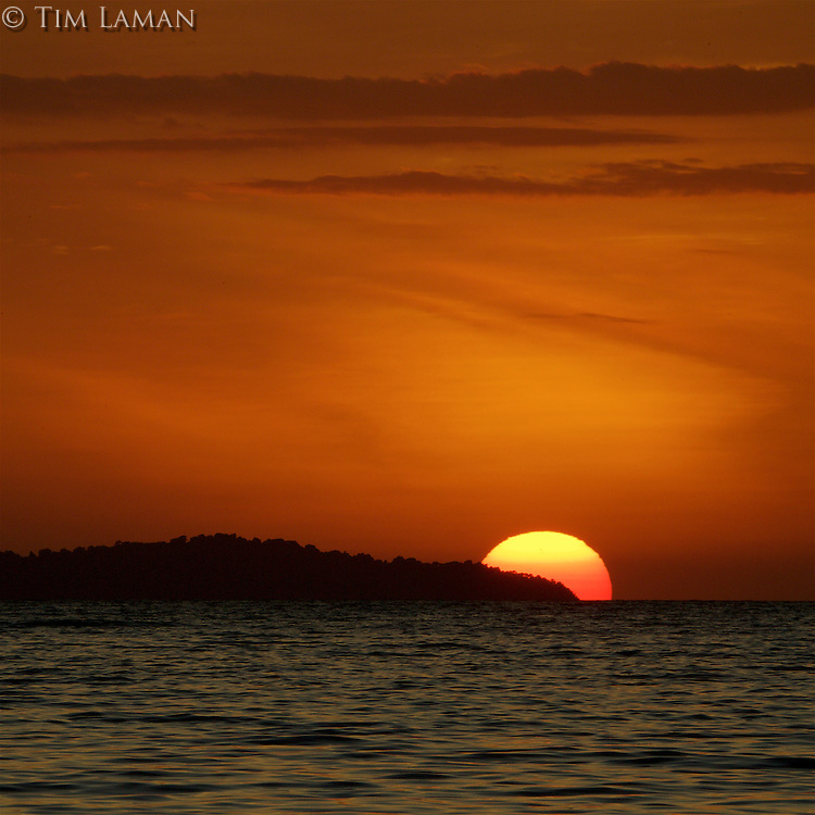 Sunset over the Contreras Islands, Coiba National Park, as viewed from Pixvae.