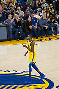 Golden State Warriors forward Kevin Durant (35) celebrates a three pointer against the Minnesota Timberwolves at Oracle Arena in Oakland, Calif., on January 25, 2018. (Stan Olszewski/Special to S.F. Examiner)