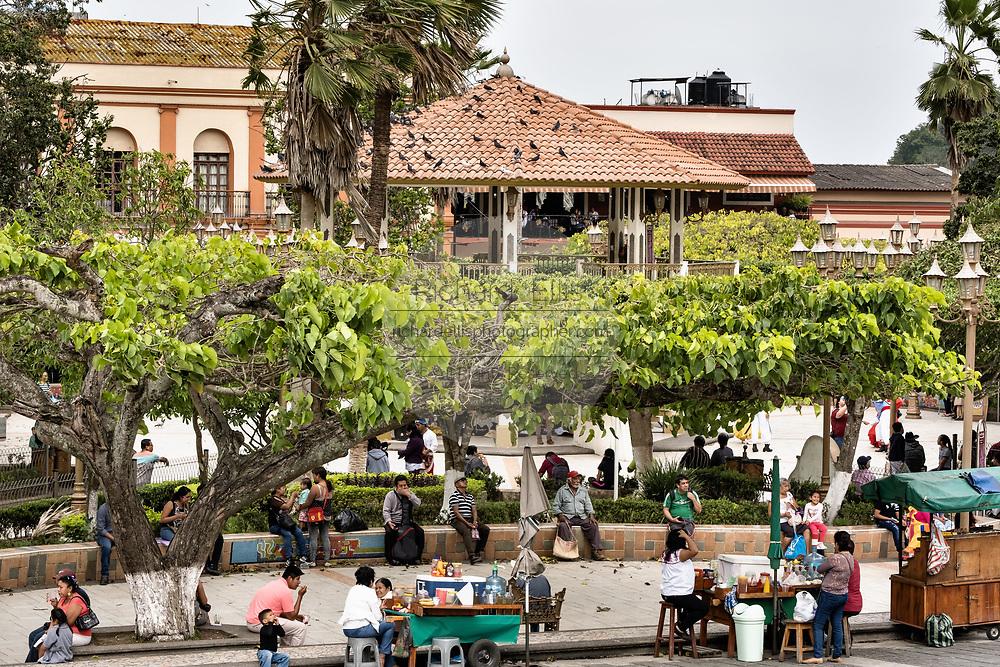 General view of the Plaza Central Israel Tellez Park in Papantla, Veracruz, Mexico.