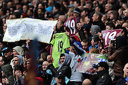 Villa fans pay tribute to their captain Stiliyan Petrov who has had to retire from football after illness. Barclays Premier League, Aston Villa v Chelsea at Villa Park in Birmingham on Saturday 11th May 2013. pic by Andrew Orchard,  Andrew Orchard sports photography,