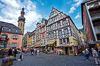View of the Cochem Town Square and Tower, Cochem, Germany.