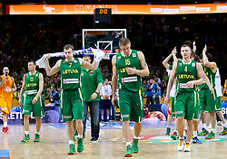 Disappointed players of Lithuania Sarunas Jasikevicius of Lithuania, Martynas Pocius of Lithuania, Robertas Javtokas of Lithuania, Rimantas Kaukenas of Lithuania after the basketball game between National basketball teams of F.Y.R. of Macedonia and Lithuania at Quarterfinals of FIBA Europe Eurobasket Lithuania 2011, on September 14, 2011, in Arena Zalgirio, Kaunas, Lithuania. Macedonia defeated Lithuania 67-65. (Photo by Vid Ponikvar / Sportida)