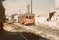 """1947 Streetcar in Hollywood, known as a """"redcar."""""""