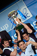 2005 European Challenge Cup Final Sale Sharks v Pau, ENGLAND, 21.05.2005, Andy Titterall holds the trophy aloft<br /> Photo  Peter Spurrier. <br /> email images@intersport-images