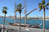 Yacht, Eye of the Wind, moored at new marina, Malaga, Andalusia, Spain, December, 2013, 201312203048<br />
