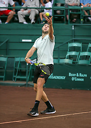 April 13, 2018 - Houston, TX, U.S. - HOUSTON, TX - APRIL 13:  Jack Sock of the United States prepares to serve in the match against Taylor Fritz of the United States during the Quarterfinal round of the Men's Clay Court Championship on April 13, 2018 at River Oaks Country Club in Houston, Texas.  (Photo by Leslie Plaza Johnson/Icon Sportswire) (Credit Image: © Leslie Plaza Johnson/Icon SMI via ZUMA Press)