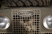 Land Rover badge on radiator grille made in Solihull, Warwickshire, England