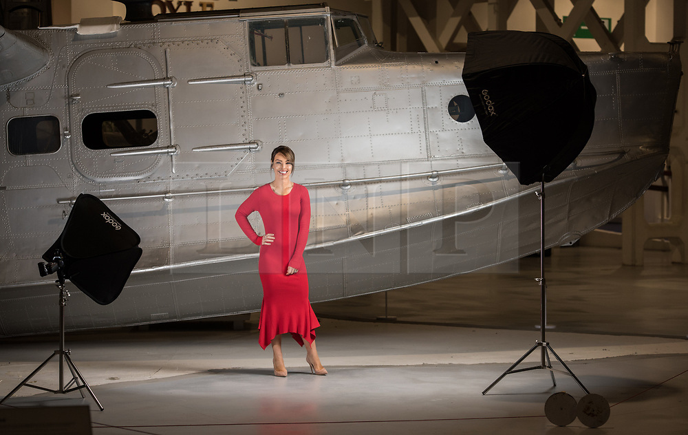 © Licensed to London News Pictures. 21/11/2018. London, UK.  <br /> TV presenter and Strictly Come Dancing star Katie Piper poses for a photograph in front of a Supermarine Stranraer aircraft in the Royal Air Force Museum London to launch the National Lottery's Thanks To You campaign in London, England on November 21, 2018. The Thanks To You promotion which runs from December 3 until December 9 sees venues, which have received Lottery funding, offering free offers and/or free entry to people in possession of a National Lottery ticket. Some of the UK's best-loved venues will be taking part, including: the Natural History Museum, Science Museum, Kew Gardens, Eden Project, Jodrell Bank, the National Railway Museum, V&A Dundee, National Museum Wales and over 100 National Trust sites.  Photo credit: Oli Scarff/LNP