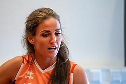 14-05-2019 NED: Press moment national volleyball team Women, Arnhem<br /> Jamie Morrison, the national coach of the Dutch women team, gives an overview of the group matches of the VNL, the OKT, Worldcup and the European Championship played in Hungary / Myrthe Schoot #9 of Netherlands