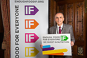 Chris Williamson MP supporting the Enough Food for Everyone?IF campaign. .MP's and Peers attended the parliamentary launch of the IF campaign in the State Rooms of Speakers House, Palace of Westminster. London, UK.