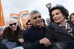 © Licensed to London News Pictures. 05/03/2017. LONDON, UK.  Annie Lennox and Sadiq Khan, Mayor of London and Bianca Jagger join feminist activists to take part in the March4Women, organised by CARE International to mark International Women's Day. The Women's Day March begins at The Scoop near City Hall, before proceeding over Tower Bridge and finishing at the Tower of London. Photo credit: Vickie Flores/LNP