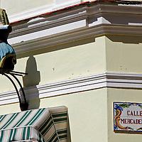 Central America, Cuba, Havana. Architectural details of Old Havana: Calle Mercaderes corner.