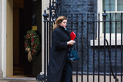 London, December 19 2017. Secretary of State for International Development Penny Mordaunt leaves 10 Downing Street following the last cabinet meeting before the Christmas break. © Paul Davey