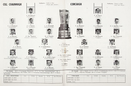 All Ireland Senior Hurling Championship Final,.07.09.1969, 09.07.1969, 7th September 1969,.Minor Kilkenny v Cork, .Senior Cork v Kilkenny,  Kilkenny 2-15 Cork 2-09,.Kilkenny, .O Breathnach, Thomastown, T O Cearbhaill, Lisdowney, P O Dioluin, St Lachtains, Bennettsbridge, Rower Inistioge, P Mac Aindreis, Fenians, Johnstown, M O Cuagain, Erin's Own, P O Morain, Bennettsbridge, M O Leathobhair, Coon, P Caomhanach, Rower Inistioge and UCD, P O Dulainne, Fenians, Johnstown, E O Ceithir, Rower Inistioge, S O Maolaoidh, Graigue, M O Braonain, Erins Own, T O Murchu, Rower Inistioge, ..Cork, .P de Barra, Vincents, A O Meachair, Finbarrs, T O Donnchu, Sarsfield, D O Murchu captain, Finbarrs, D O Clumhain, UCC, L Breathnach, Youghal, G Mac Carthaigh, Finbarrs, Glen Rovers, R Tuathaigh, Na Piarsaigh, T O Riain, Inniscarra, C O Cuilleanain, Finbarrs, P O hEigeartaigh, Youghal, C Mac Carthaigh, Finbarrs, R O Cuimin, UCC, E O Briain, Passage,