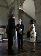 Il senatore a vita Mario Monti con l'ambasciatore francese in Italia Alain Le Roy all'interno dell' Ambasciata di Francia a Piazza Farnese in occasione di un dibattito sull'Unione Europea<br /> Roma - 8 luglio 2013. Matteo Ciambelli / OneShot