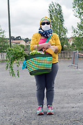 outdoors farmers market food shopper portrait during Covid 19 crisis France Limoux April 2020
