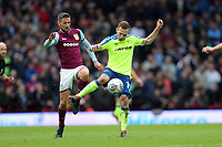 Aston Villa v Derby County - Sky Bet Championship<br /> BIRMINGHAM, ENGLAND - APRIL 28 :  Andrease Weimann of Derby County gets to the ball ahead of Aston Villa's Conor Hourihane