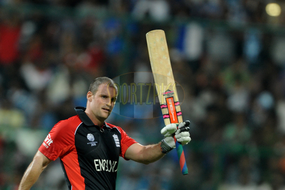 Andrew Strauss captain of England celebrates after hitting a century during the ICC Cricket World Cup match between India and England held at the M Chinnaswamy Stadium in Bengaluru, Bangalore, Karnataka, India on the 27th February 2011..Photo by Pal Pillai/BCCI/SPORTZPICS