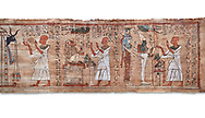 Ancient Egyptian Book of the Dead papyrus  - Aaner Book of the Dead, Thebes - 21st Dynasty (1076-943C).Turin Egyptian Museum. white background<br /> <br /> During the 21st Dynasty the number of spells in Books of the Dead was often reduced in favour of decrative panels. small illustrated vignettes take up a large part of the papytus surface .<br /> <br /> If you prefer to buy from our ALAMY PHOTO LIBRARY  Collection visit : https://www.alamy.com/portfolio/paul-williams-funkystock/ancient-egyptian-art-artefacts.html  . Type -   Turin   - into the LOWER SEARCH WITHIN GALLERY box. Refine search by adding background colour, subject etc<br /> <br /> Visit our ANCIENT WORLD PHOTO COLLECTIONS for more photos to download or buy as wall art prints https://funkystock.photoshelter.com/gallery-collection/Ancient-World-Art-Antiquities-Historic-Sites-Pictures-Images-of/C00006u26yqSkDOM