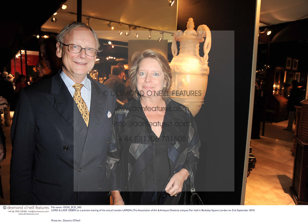 LORD & LADY DEBEN at a preview evening of the annual London LAPADA (The Association of Art & Antiques Dealers) antiques Fair held in Berkeley Square, London on 21st September 2010. *** Local Caption *** Image free to use for 1 year from image capture date as long as image is used in context with story the image was taken.  If in doubt contact us - info@donfeatures.com<br /> LORD & LADY DEBEN at a preview evening of the annual London LAPADA (The Association of Art & Antiques Dealers) antiques Fair held in Berkeley Square, London on 21st September 2010.