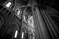 Black and White Photo, ceiling of the Lausanne Cathedral in Switzerland.