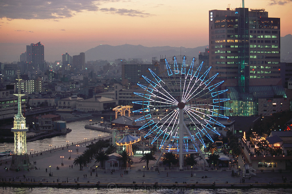 A Ferris wheel at the port in Kobe, Japan.
