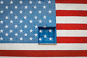 City wall in Dallas, Texas painted with American flag