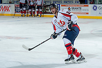 KELOWNA, CANADA - OCTOBER 16: Giorgio Estephan #29 of the Lethbridge Hurricanes warms up against the Kelowna Rockets on October 16, 2013 at Prospera Place in Kelowna, British Columbia, Canada.   (Photo by Marissa Baecker/Shoot the Breeze)  ***  Local Caption  ***