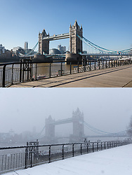 © Licensed to London News Pictures. 26/02/2019. London, UK.  A comparison picture showing today (top) with blue sky and warm sunny weather behind Tower Bridge and a picture (bottom) taken on 27th February 2018 during heavy snowfall.  Photo credit: Vickie Flores/LNP