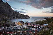 Midnight light over the fishing village of Nusfjord, Lofoten Islands