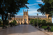 Sydney, Australia. Monday 4th May 2020. Hyde Park in the central business district of Sydney  is quite empty today. St Mary's Cathedral  viewed from Elizabeth Street end. The new rules allow groups of two adults and their children to visit other households. Social distancing is still very much in place due to the COVID-19 pandemic.